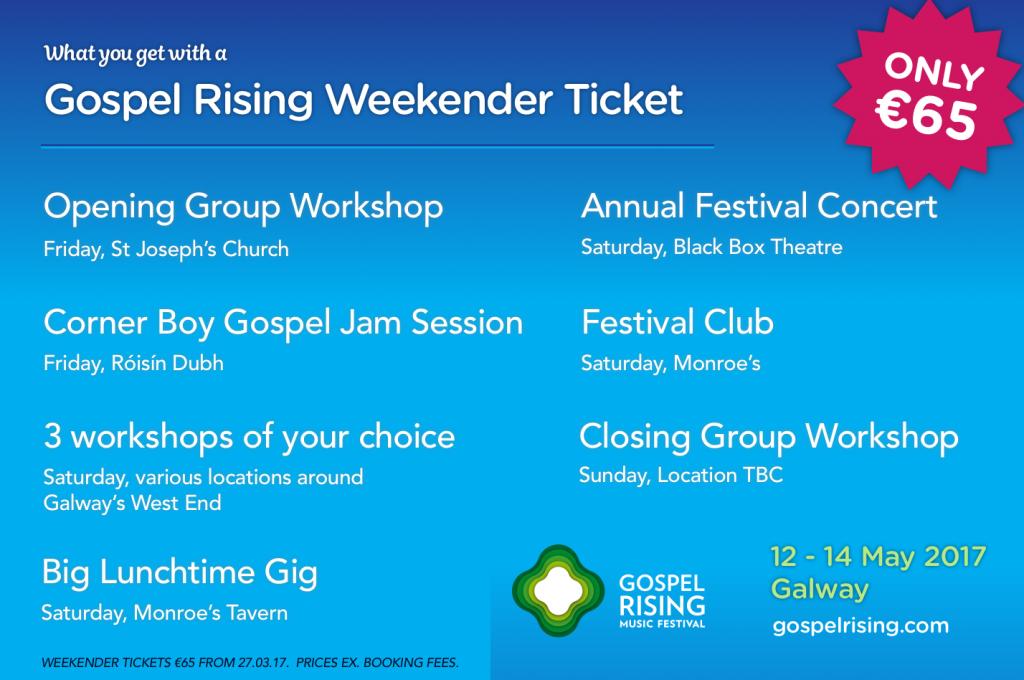Gospel Rising Weekender ticket breakdown
